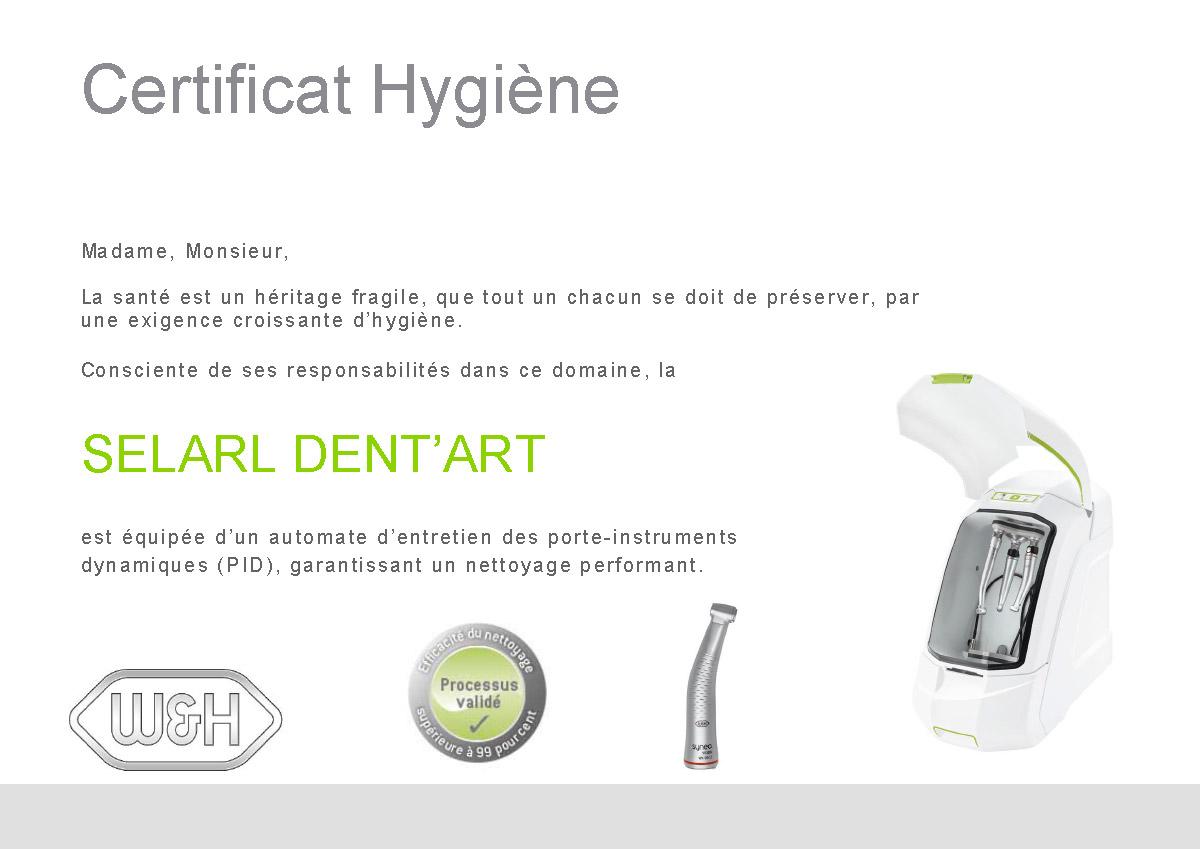 certificat hygiène selarl dent'art automate d'entretien des porte-instruments