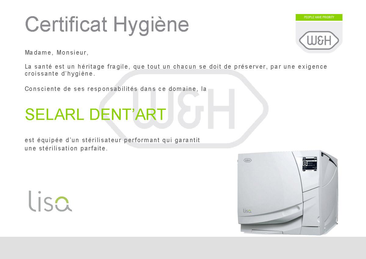 certificat hygiène selarl dent'art lisa 500 stérilisateur